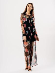 Black Floral Sheer Button Up Maxi Dress