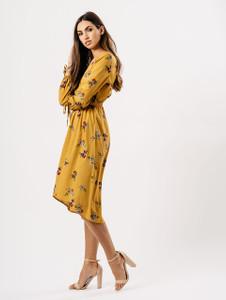Mustard Floral Maxi Wrap Dress