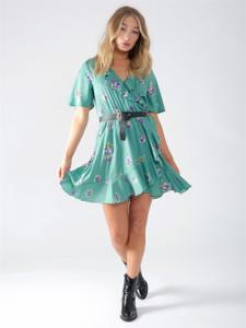 Mint Green Floral Ruffle Wrap Dress