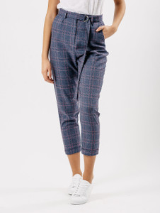 Blue Check Cigarette Trousers With D Ring Belt