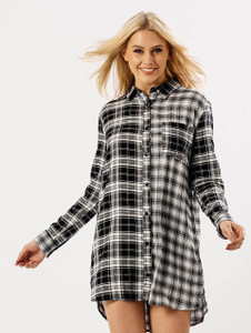 Black Oversized Contrast Check Shirt Dress