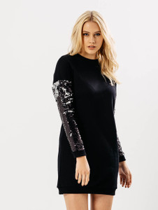 Black Oversized Jumper Dress With Sequin Sleeves