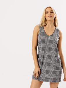 Monochrome Check Pocket Swing Dress