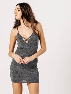 Grey Glitter Strappy Mini Dress