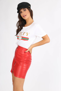 Red Zip Through PU Mini Skirt