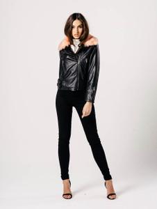 Black Leather Side Zipped Pink Fur Collar Jacket