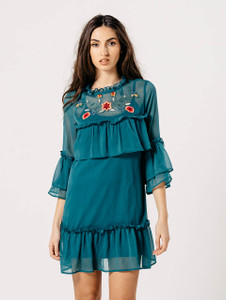 Green Embroidered Sheer Frill Dress