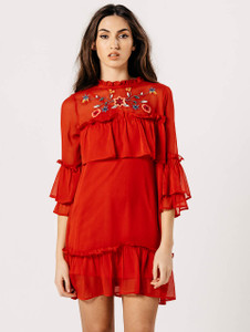 Red Embroidered Sheer Frill Dress