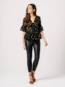 Black Floral V Neck Ruffle Sleeve Top