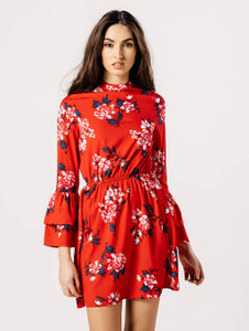 Red Floral Tier Sleeve High Neck Dress