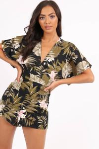 Multi Tropical Print V Neck Open Sleeve Playsuit