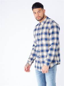 Navy Full Sleeve Brushed Cotton Check Shirt