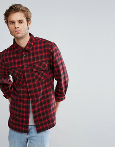 Red Full Sleeve Brushed Cotton Check Shirt with Drop Back