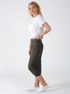 Khaki Drop Crotch Cropped Length Harem Trousers