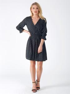 Black Polka Dot Button Detail V Neck Dress
