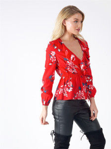 Red Floral Ruffle Detail Wrap Top