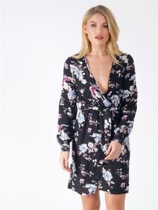 Black Floral Belted Split Dress