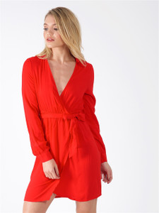 Red Tie Front Split Dress