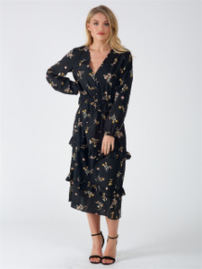 Black Floral Button Down Maxi Dress