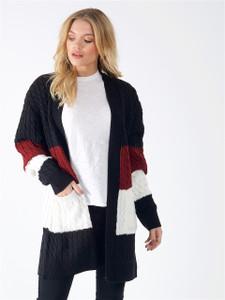 Black Wine Cream Oversized Chunky Knitted Cardigan