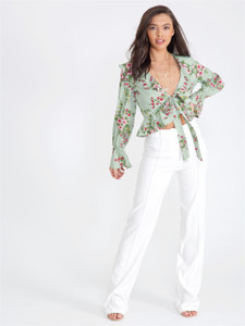 Mint Floral Cropped Tie Front Blouse