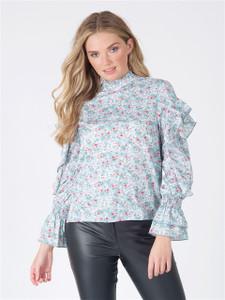 Multi Floral Ruffled Sleeve Top
