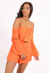 Orange Bardot Crochet Sleeve Crop Top