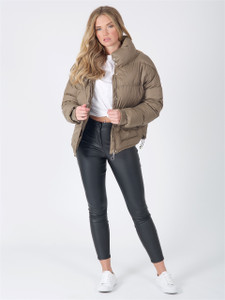 Khaki Puffer Coat With Oversized Patch Pocket