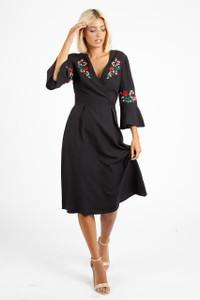 Black Embroidered Wrap Over Midi Dress