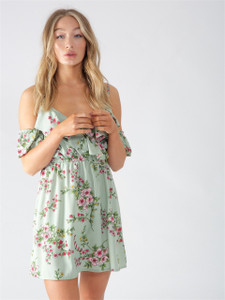 Mint Ariana Floral Ruffle Cold Shoulder Mini Dress