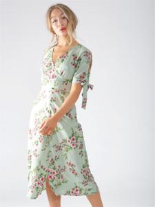 Mint Ariana Floral Tie Cold Shoulder Maxi Dress