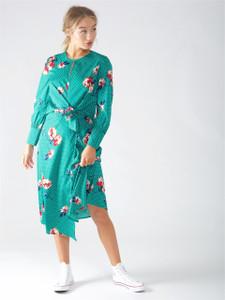 Green Floral Knot Waist Maxi Dress