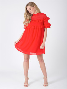 Red High Neck Ruffle Detail Mini Dress