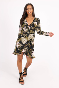 Green Floral Ruffle Front Wrap Dress