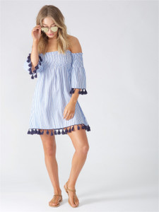 Blue Stripe Shirred Bardot Cotton Dress