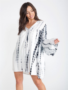 Cream Tie Dye Boho Chic Smock Dress