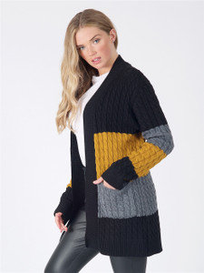 Black Mustard Charcoal Oversized Chunky Knitted Cardigan