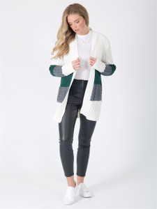 Cream Green Charcoal Oversized Chunky Knitted Cardigan