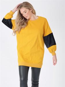 Mustard Oversized Fur Sleeve Jumper