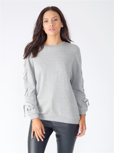 Grey Lace Up Sleeve Sweat