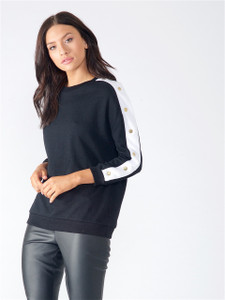Black Popper Sleeve Sweat