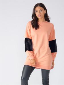 Blush Oversized Fur Sleeve Jumper