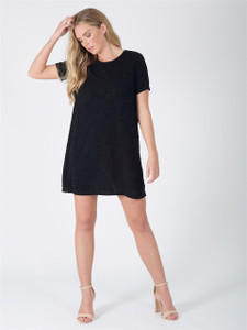 Black Short Sleeve Tunic Dress