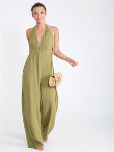Khaki Halterneck Cheesecloth Wide Leg Jumpsuit