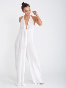White Halterneck Cheesecloth Wide Leg Jumpsuit