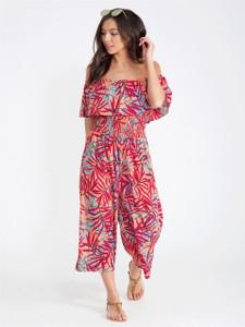 Tropical Print Bardot Jumpsuit