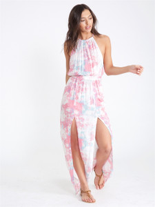 Pink Tie Dye Cheesecloth Maxi Dress With Splits