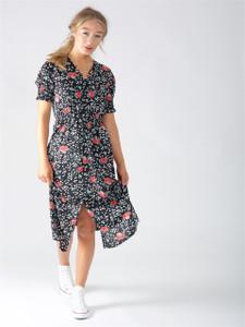 Black Floral Button Detail Midi Dress