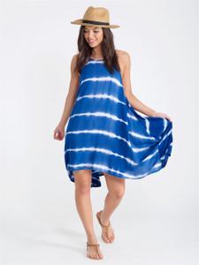 Navy Tie Dye Handkerchief Dress