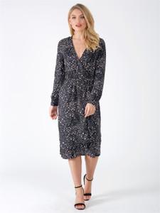 Black Star Print Wrap Front Maxi Dress